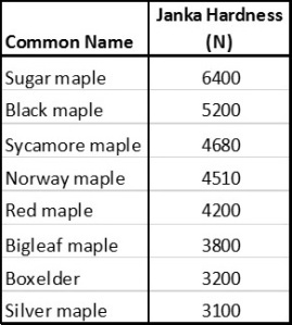 Maple Hardness