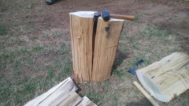 Splitting White Oak Bolts