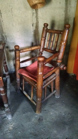 A turned chair, looking very Dutch. Many of Plimoth's early residents had previously lived in the Netherlands